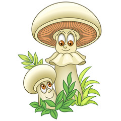 Cartoon Mushroom character. Champignon or Shiitake boletus. Happy Vegetable symbol. Food spice icon. Design element for kids coloring book page, t-shirt print, logo, label, patch or sticker.