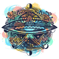 Ufo ship and vintage magic key color tattoo water color splashes. Mystical esoteric symbol of secret knowledge. UFO and universe t-shirt design