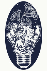 Symbol of the idea, creativity, creative, imagination, freedom. Light bulb tattoo and art nouveau flowers t-shirt design