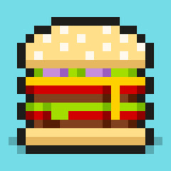 Pixel art, minimalistic double cheeseburger, flat fast food, vector design object, retro web icon