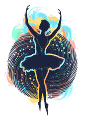 Ballerina dances in space color tattoo. Symbol of art, poetry, philosophy. Graceful girl dancing in deep space t-shirt design