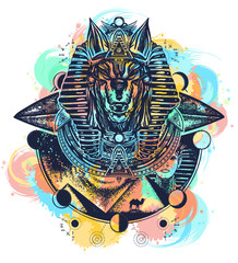 Anubis watercolor splashes color tattoo and t-shirt design. Anubis, god of war, Golden Mask of the Pharaoh, Egypt tattoo art. Paleocontact concept