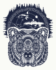 Bear tattoo art, symbol travel and tourism. Abstract head of bear. Portrait grizzly. Symbols hipsters travelers. Portrait of bear in night forest tribal tattoo and t-shirt design