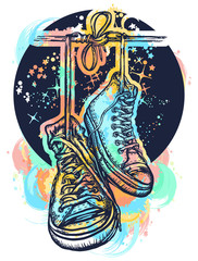 Symbol of freedom, street culture, graffiti, street art. Sneakers on wires in space. Boots hanging from electrical wire tattoo and t-shirt design water color splashes.