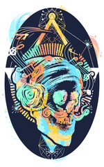 Human skull sacred geometry tattoo and t-shirt design water color splashes. Skull of the bearded hipster in earphone listens to music. Skull with beard, mustache, hipster hat and headphones tattoo