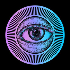 All seeing eye art vector. Magic eye fashion t-shirt design. Freemason and spiritual symbols. Alchemy, medieval religion, occultism, spirituality and esoteric