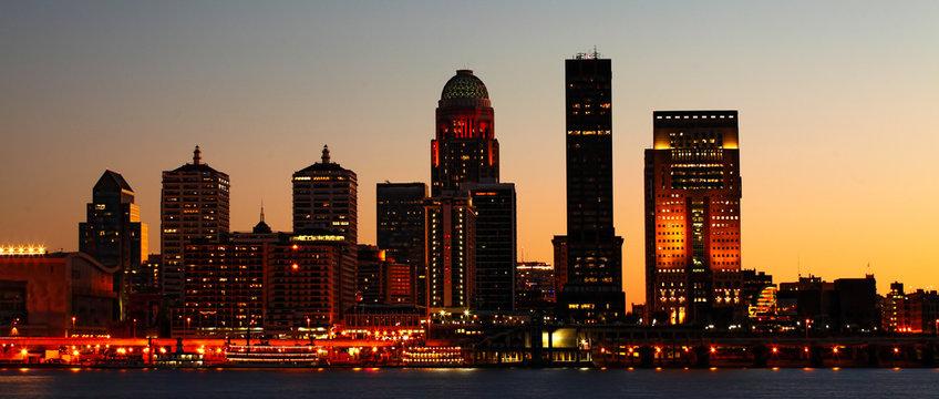 Panorama of Louisville night skyline across the Ohio River