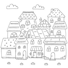 Hand drawn page for coloring book with a lot of houses. A small cute city in doodle stile. Black and white