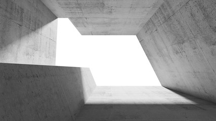 Betonowy tunel 3D z wpadającym światłem