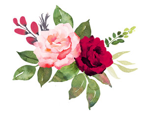 Flower bouquet with red and pink roses. Watercolor hand-painted illustration