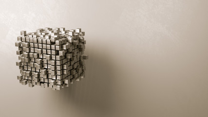 Cubes Aggregation on Grey Background