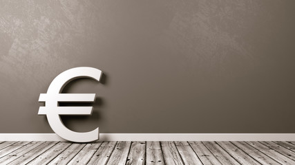 Euro Currency Sign on Wooden Floor Against Wall