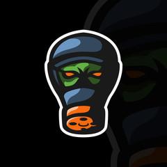 Gas mask mascot logo design for sports team. Vector illustration