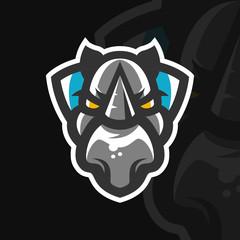 Rhino mascot logo design for sports team. Vector illustration