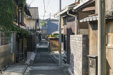 Historical residential area with old traditional houses  in downtown Kyoto, Japan