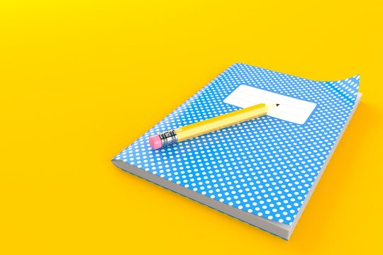 Workbook with pencil