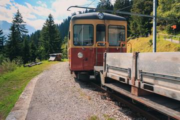 Mountain train from Grutschalp to Murren in summer. Wengen - Bernese Oberland - Switzerland