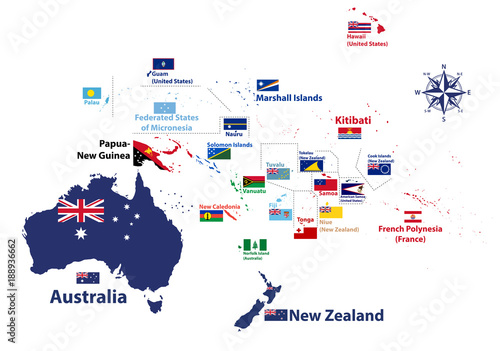 Australia and Oceania region vector high detailed map with countries ...