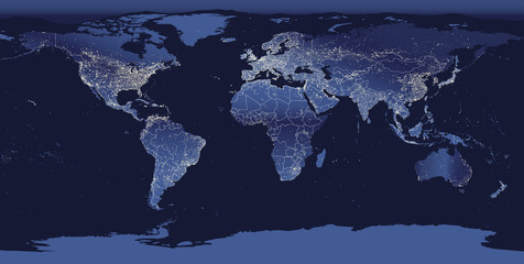 Foto op Aluminium Wereldkaart World city lights map. Night Earth view from space. Vector illustration