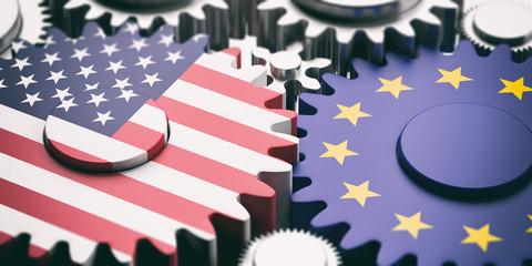 European Union and US of America flags on metal cogwheels. 3d illustration