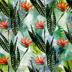 Seamless tropical floral pattern. Bright red exotic flowers, green leaves on blue green background.