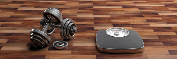 Fitness concept. Bathroom scale and dumbbells isolated on wooden floor, banner. 3d illustration