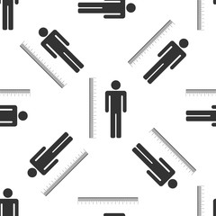 Measuring height body icon seamless pattern on white background. Flat design. Vector Illustration
