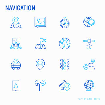 Navigation and direction thin line icons set: pointer, compass, navigator on tablet, traffic light, store locator, satellite. Modern vector illustration.