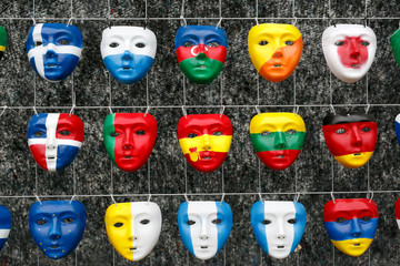 Masks in the form national flags of countries