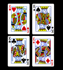 King set playing card isolated on black background