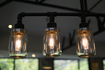 edison light bulbs style hanging on the ceiling for decorated in antique style. idea concept.