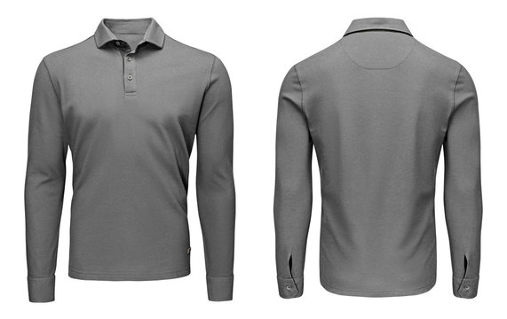 Blank template mens grey polo shirt long sleeve, front and back view, isolated white background. Design sweatshirt mockup for print.