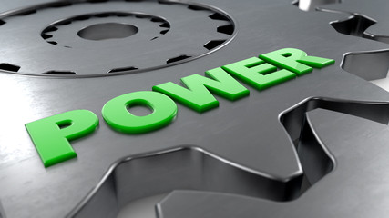 3d rendering. Gear and power word