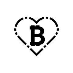 Illustration of a long shadow heart with a bitcoin sign