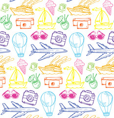 Hand drawn doodle travel pattern