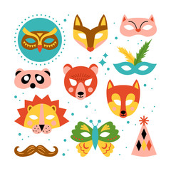 Animal carnival masks set