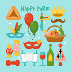 Purim holiday elements set