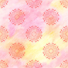 Vector seamless background with a round floral pattern with curls. Colored pencils. Hand drawing.