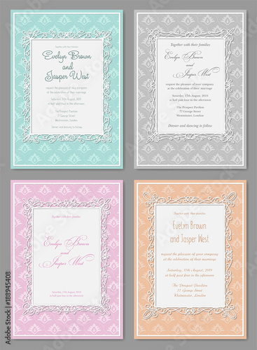 Vector set of elegant wedding invitation in pastel colors. Beautiful ...
