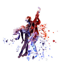 Vector watercolor silhouette of dancing couple