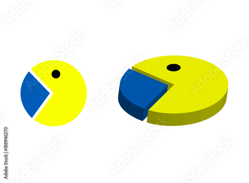Pacman Video Game Character Icon And Pie Chart Concept Stock Image