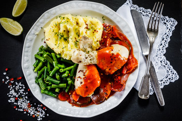 Chicken legs with boiled potatoes