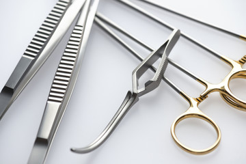 Close up view on surgical tools