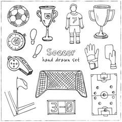 Hand drawn doodle soccer set.