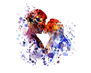 Vector watercolor silhouette of kissing people