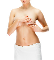 Woman examining breast isolated on white background