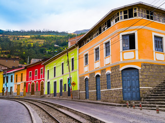 Colorful houses in Alausi railway station, starting-off point for Devil's Nose train in Ecuador