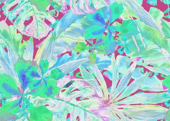 Tropical pattern. Watercolor thailand palm, monstera, hibiscus, banana tree.