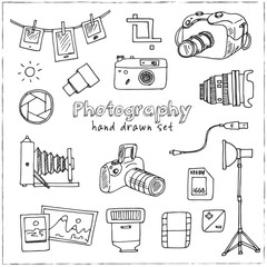 Hand drawn doodle photography set.