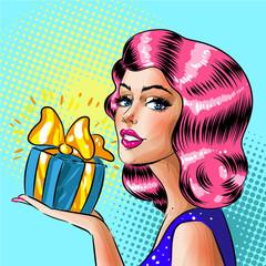 Vector retro pop art woman holding gift box